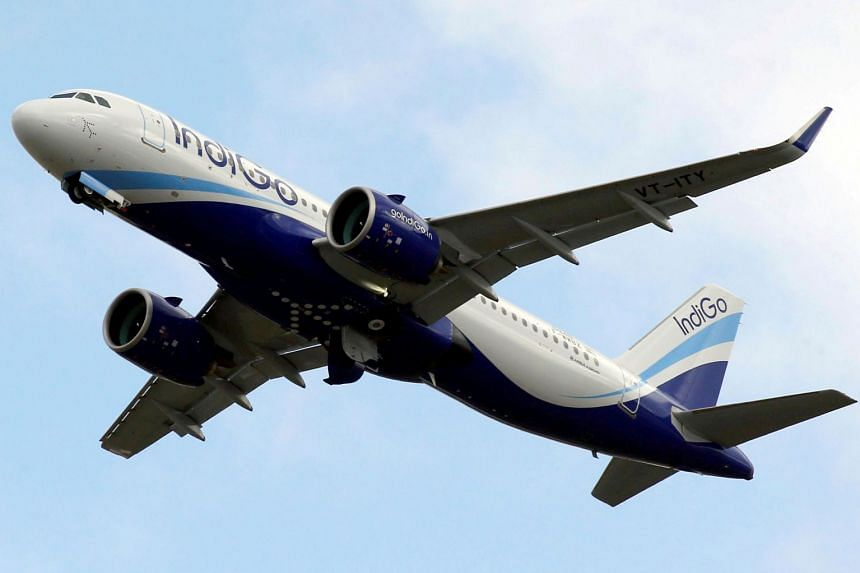 A 2017 photo shows an IndiGo Airlines Airbus A320 aircraft taking off in France.