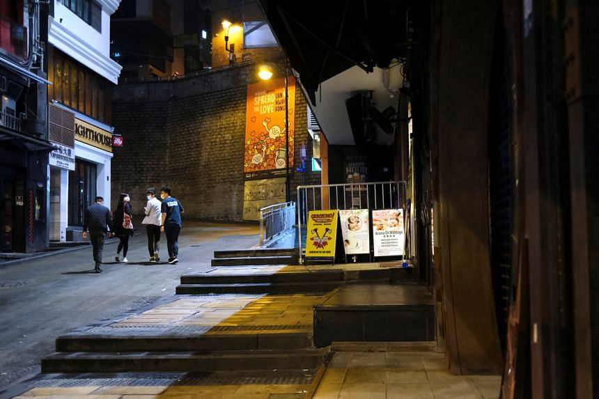 An almost empty area in Lan Kwai Fong, a popular nightlife destination in Hong Kong's Central district, on March 20, 2020.