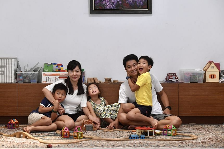 Photo of the Tee family, (from left)  Elim, Channy Kim Cham Young and daughter Ena, Alex Tee and Elim.