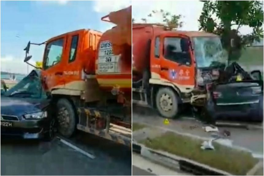 In videos circulating on social media, an orange oil tanker is seen colliding head-first into the passenger's side of the car.
