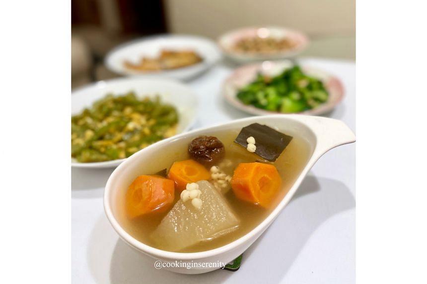 Ms Serene Neo's winter melon barley soup (above).