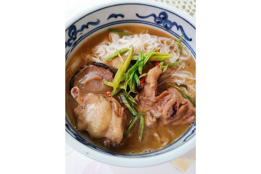 Ms Wong Wye Leng's ginger chicken mee sua with Shaoxing rice wine and sesame oil (above).
