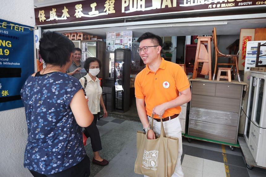 National Solidarity Party secretary-general Spencer Ng during a walkabout in Tampines on March 22, 2020.