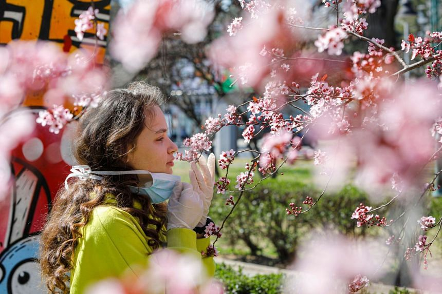A girl removes her mask to smell the flowers on a blooming tree in Skopje, North Macedonia, on March 20, 2020.