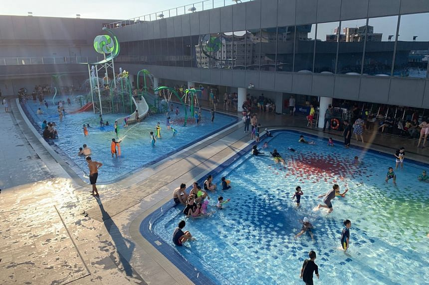 A swimming pool at Our Tampines Hub.