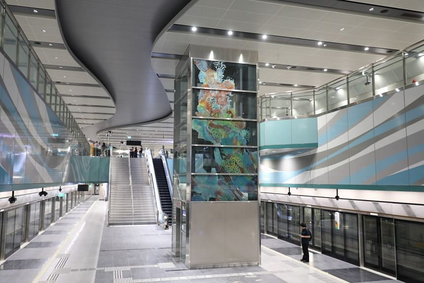 The interior of the new Bright Hill MRT station, one of the 6 stations that is part of Stage 2 of the Thomson-East Coast line.