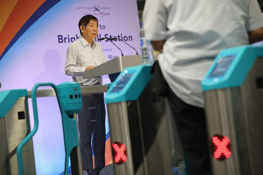 Transport Minister Khaw Boon Wan speaking during a visit to Bright Hill MRT station, on March 23, 2020.