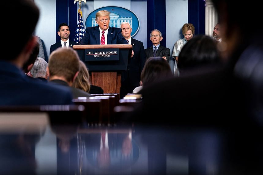President Donald Trump during a news conference at the White House about the federal response to the coronavirus pandemic in Washington on March 20, 2020.