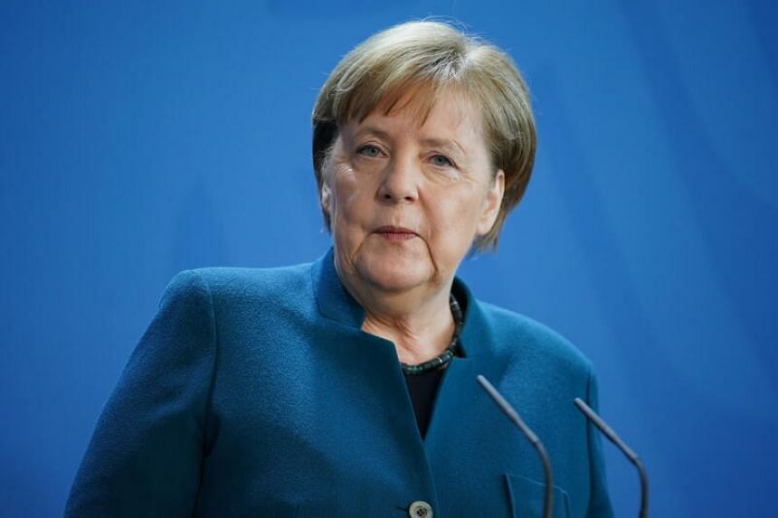 German Chancellor Angela Merkel speaks during a press statement in Berlin, Germany, on March 22, 2020.