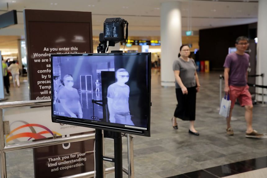 A thermal scanner at Jewel Changi Airport on March 21, 2020. The Ministry of Health announced an additional 48 imported and six local Covid-19 cases on March 23, 2020.