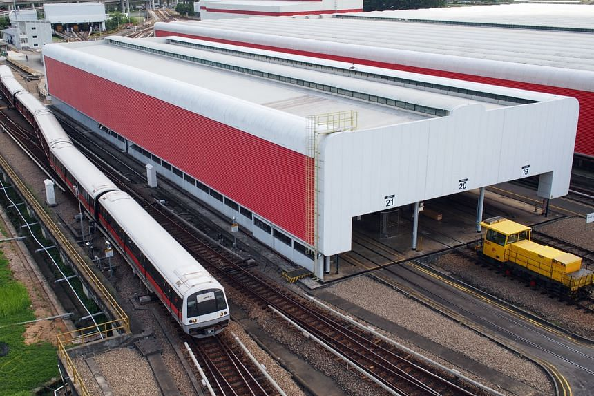 File photo of an SMRT train at Bishan Depot. An SMRT worker died on March 23 after suffering severe injuries while working at Bishan Depot.