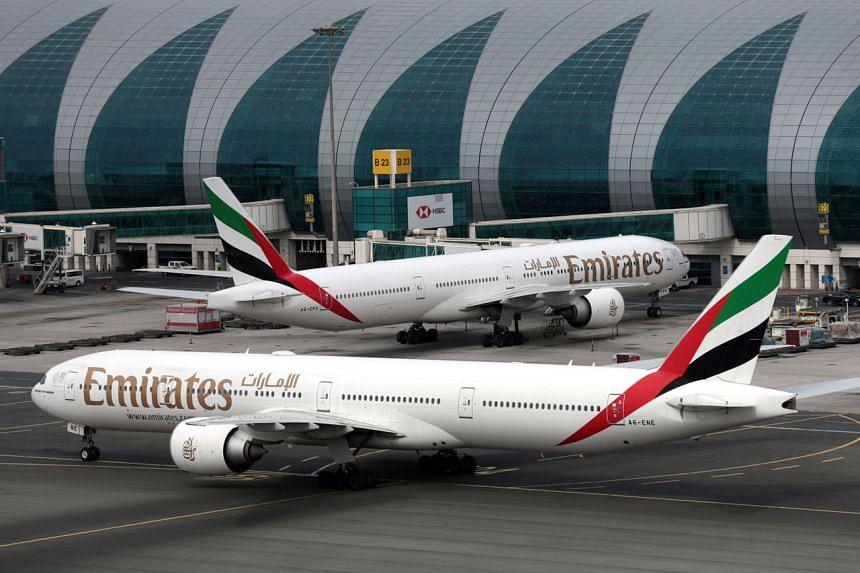 Emirates Boeing 777-300ER planes at Dubai International Airport in Dubai, United Arab Emirates, on Feb 15, 2019.