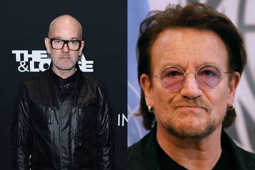 Former R.E.M. frontman Michael Stipe (left) sings the chorus of the band's hit It's The End Of The World As We Know It in a video on his website while Bono (right) has written a song, Let Your Love Be Known, dedicated to Italy.
