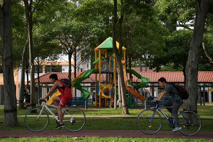 In a photo from Feb 12, 2020, cyclists ride along a cycling path, past a playground, at Bedok.