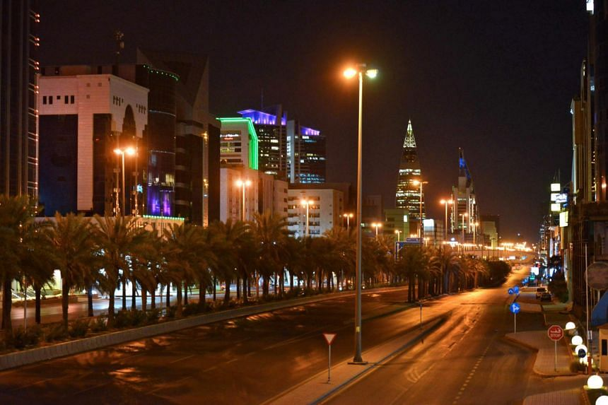 The empty King Fahd road after authorities imposed a curfew for 21 days in Riyadh, Saudi Arabia, on March 23, 2020.