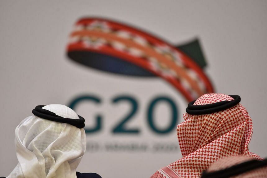 Unidentified guests attend a meeting of Finance ministers and central bank governors of the G20 nations in Riyadh, Saudi Arabia, on Feb 23, 2020.