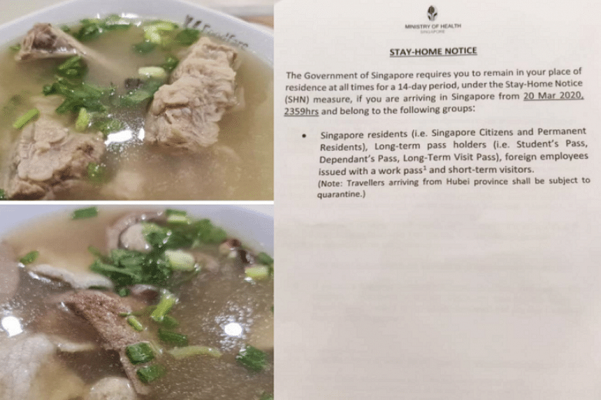Mr Alan Tham said he knew he had to serve a 14-day stay-home notice after returning from a holiday, but thought it started only the day after touching down, so he went out for a bak kut teh dinner and to buy groceries.
