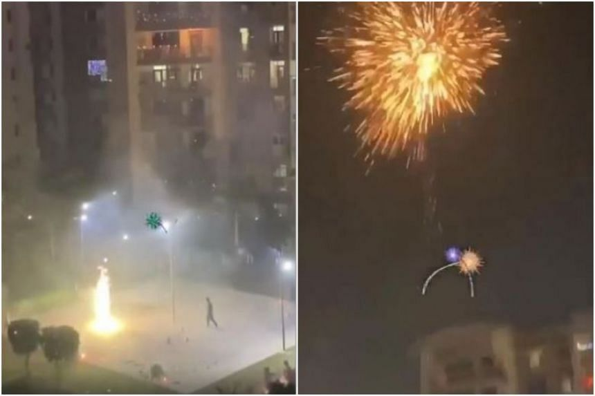 In videos circulating online then, fireworks are seen to be launched between two Housing Board blocks, reaching as high as the 12th storey.