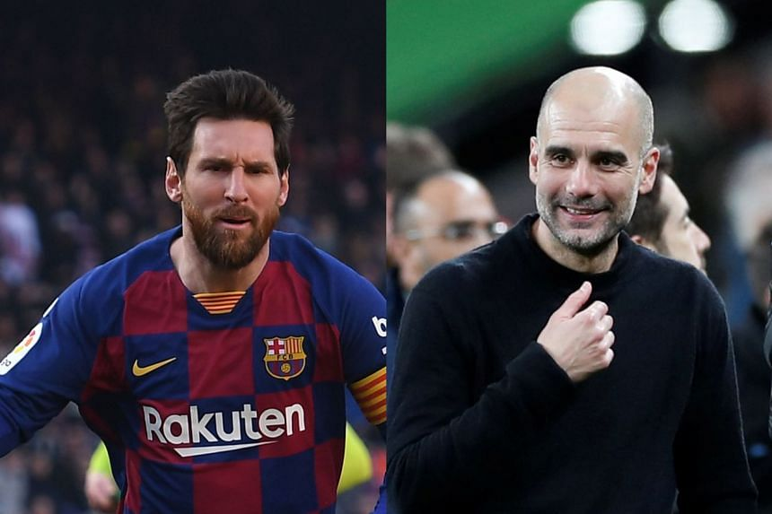 Barcelona's Lionel Messi (left) and Pep Guardiola of Manchester City.