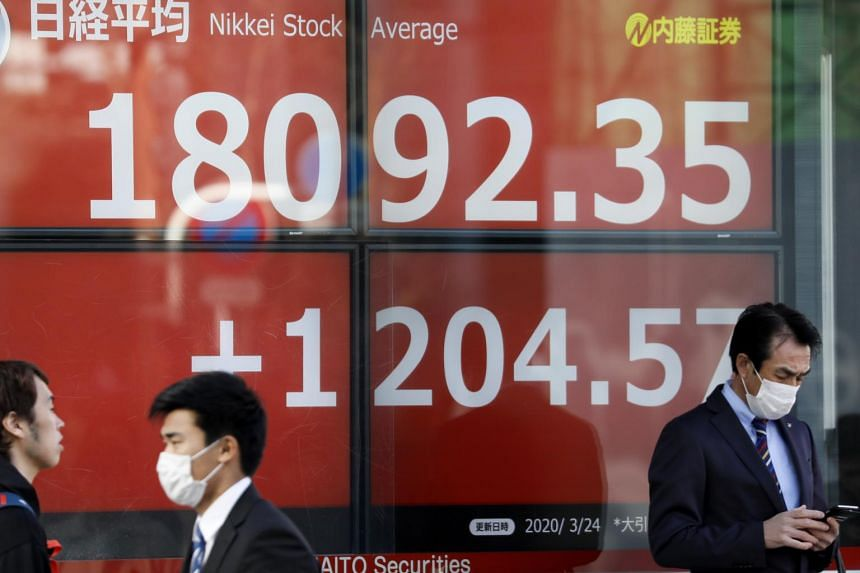 Pedestrians wearing masks walk past a display showing the closing information of Tokyo's Nikkei Stock Average in Tokyo on March 24, 2020.