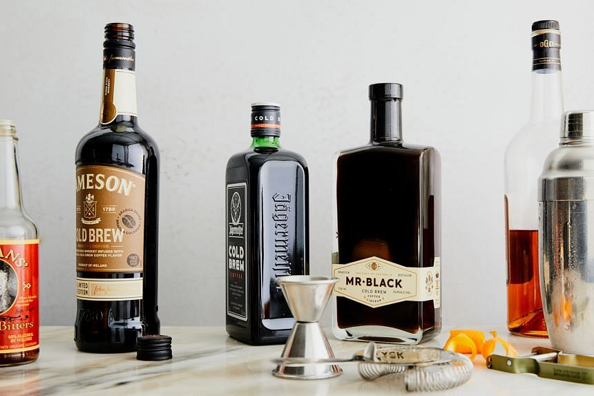 "A variety of new coffee liqueurs (above) on the market made with cold brew and the ""cold-fashioned"", made using Australian brand Mr Black's cold brew liqueur, at Peppi's Cellar in Manhattan."