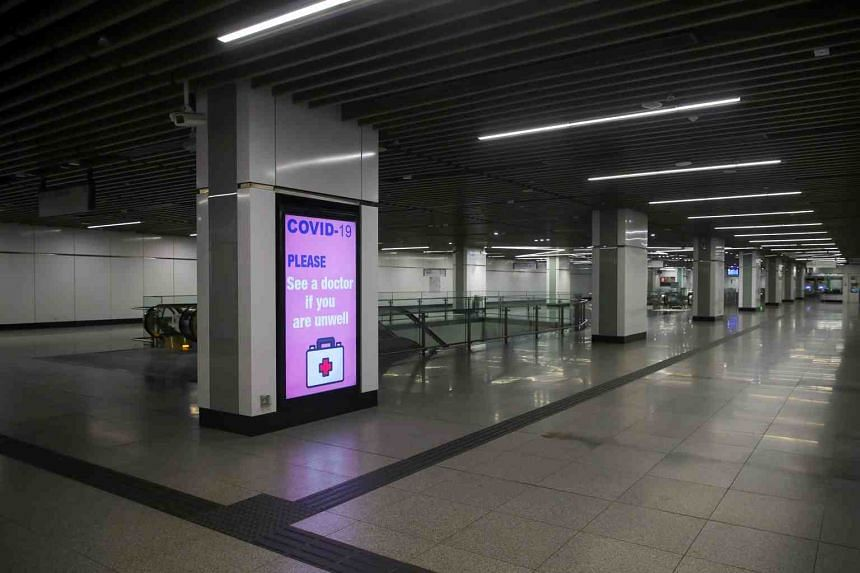 A view of an empty Muzium Negara MRT station during day three of Movement Control Order enforcement in Kuala Lumpur, on March 20, 2020.