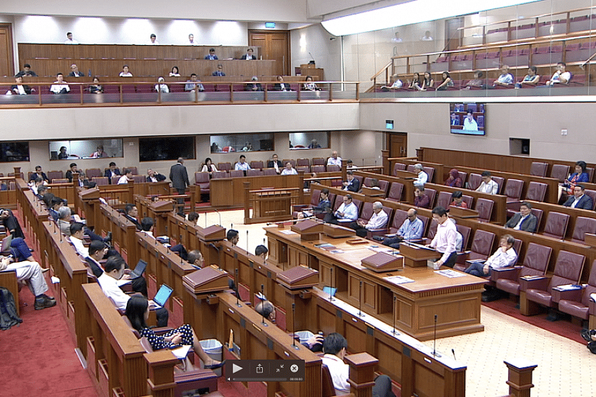 The new safe distancing arrangements meant that some MPs were not able to sit in the Chamber. They occupied seats in galleries on other levels instead, while members of the public and the media at the galleries were also seated at spaced intervals.