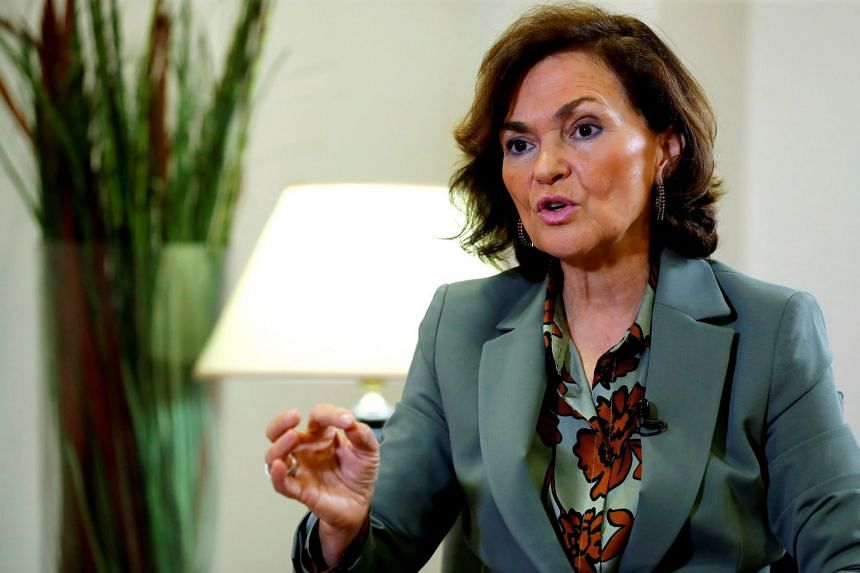 Carmen Calvo speaks during an interview in Madrid, March 6, 2020.
