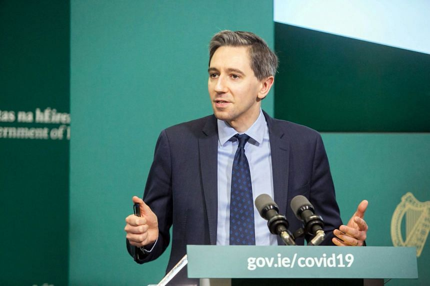 Simon Harris speaks at a press briefing for the launch of a Covid-19 information booklet in Dublin City, Ireland.
