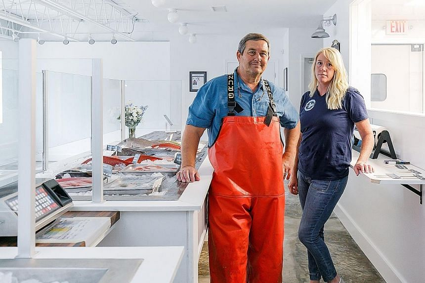 Mr Mark Marhefka and his wife Kerry had opened a processing plant for their seafood business in South Carolina mere days before the state's restaurants closed.