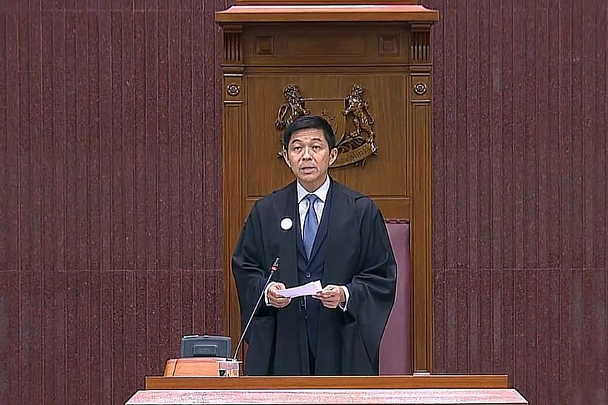 The new safe distancing arrangements, amid the worsening coronavirus outbreak in Singapore, meant some MPs were not able to sit in the Chamber itself. They occupied seats in the galleries on the other levels instead.
