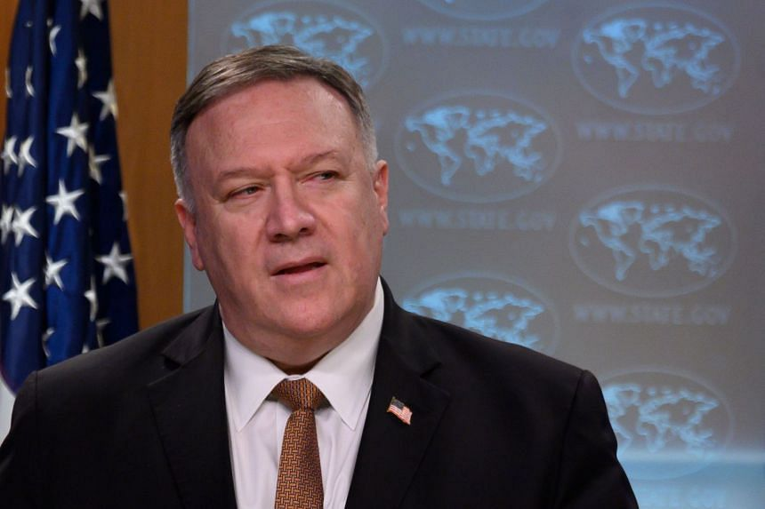 Mike Pompeo speaks during a news conference at the State Department in Washington.