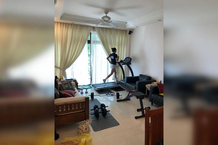Singapore fencer Amita Berthier and her makeshift home gym. She had been training at the Bluegrass Fencers' Club in Lexington, Kentucky since last June after taking a gap year from her studies to focus on qualifying for Tokyo 2020.