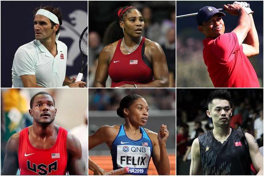 (From top left, clockwise) Roger Federer, Serena Williams, Tiger Woods, Lin Dan, Allyson Felix and Justin Gatlin. A delayed Tokyo Games might be a step too far for these six evergreen stars.
