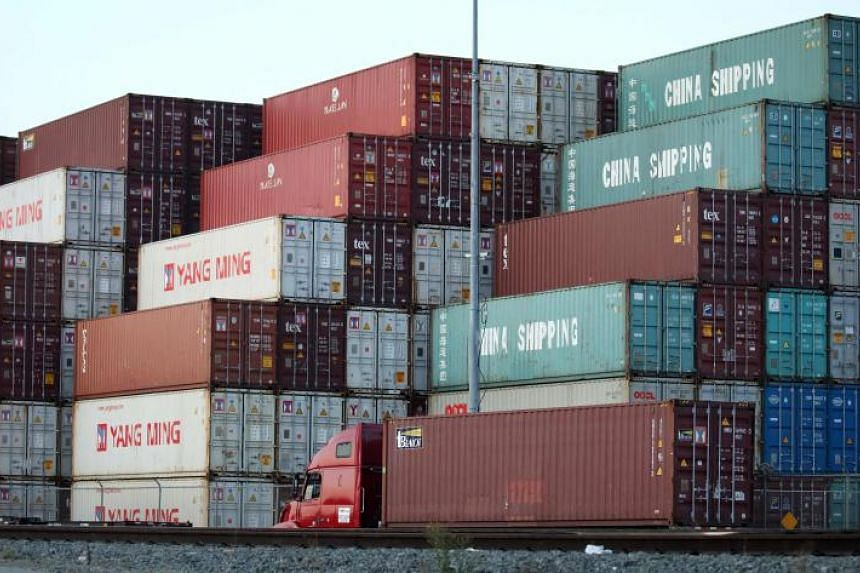 In this file photo taken on Nov 6, 2019, shipping containers are stacked at the Port of Los Angeles, the nation's busiest container port in San Pedro, California.