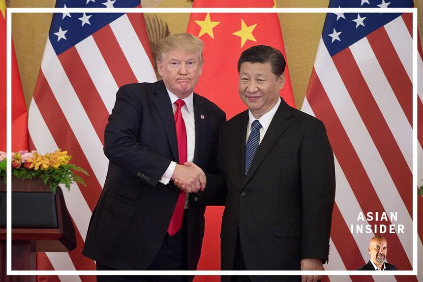 US President Donald Trump (left) with China's President Xi Jinping during a press conference at the Great Hall of the People in Beijing. Our Asian Insider podcast discusses the latest status of the US-China rivalry.