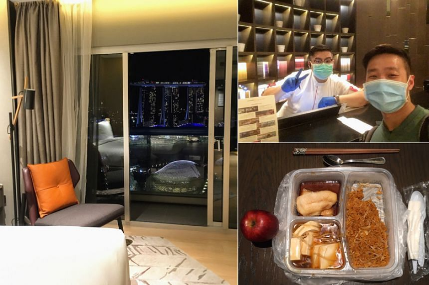 """Biologist Marcus Chua's """"birthday staycay"""" at the Swissotel the Stamford began when he flew back from the US on March 26, prepared to serve the stay-home period in a hotel instead of in his own home."""