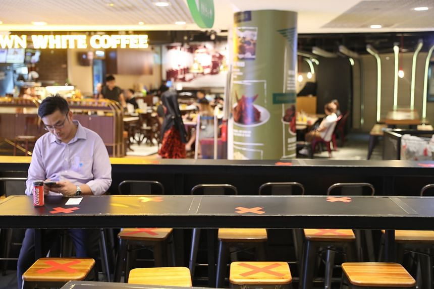 Safe distancing measures at Ordinary, an eatery in City Square Mall on March 27, 2020.