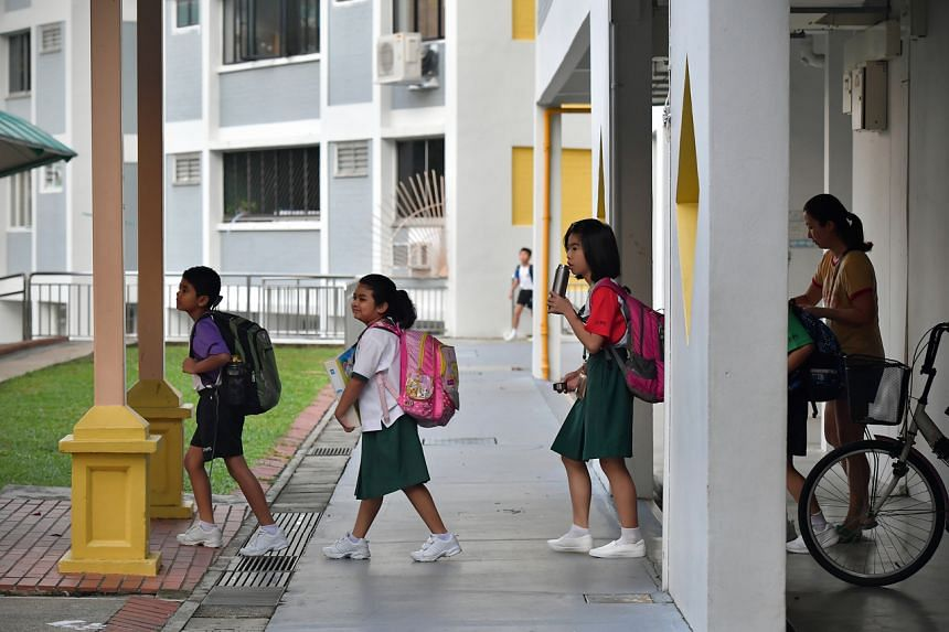 Zhenghua Primary School pupils returning to school after the March holidays on March 23, 2020.