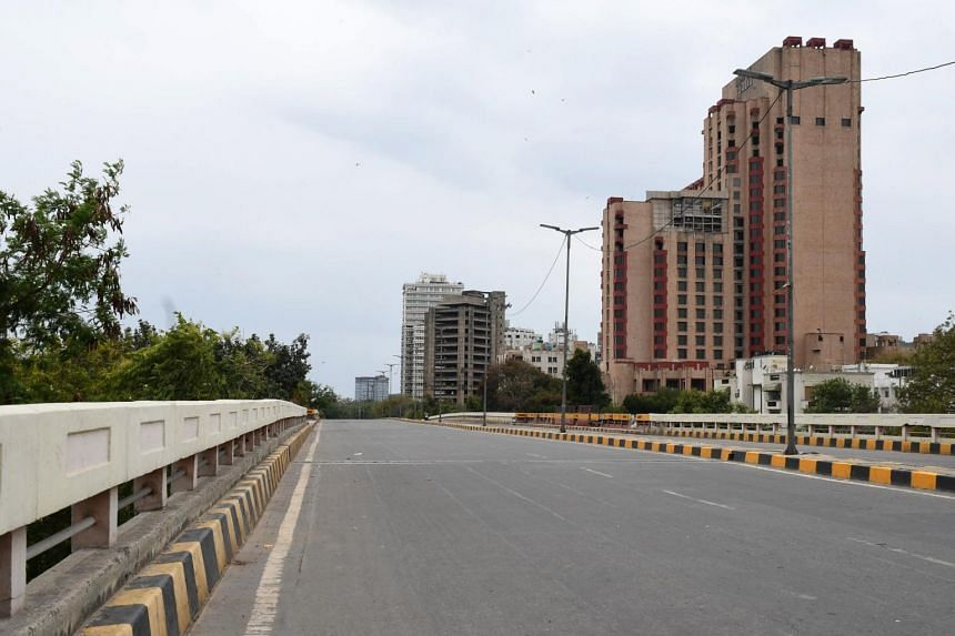 A view on empty Ranjeet Singh flyover in New Delhi, India, on March 26, 2020.