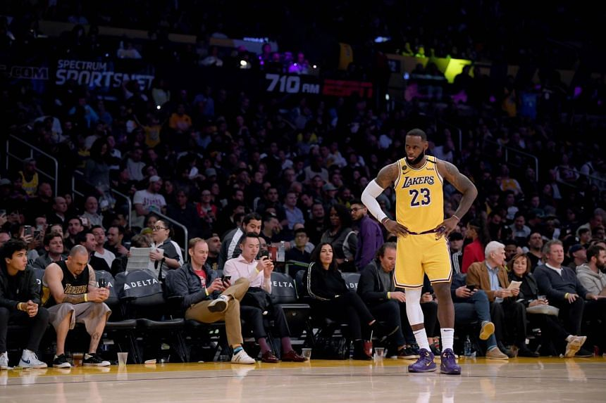 LeBron James of the Los Angeles Lakers waits during a 104-102 Brooklyn Nets win in Los Angeles, US, on March 10, 2020.