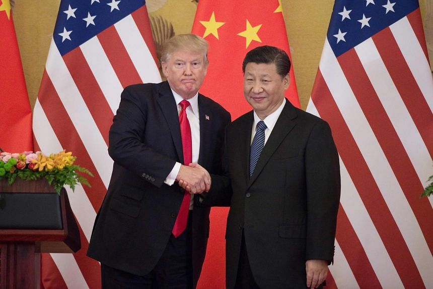 US President Donald Trump (left) shakes hands with China's President Xi Jinping during a press conference at the Great Hall of the People in Beijing on Nov 9, 2017.