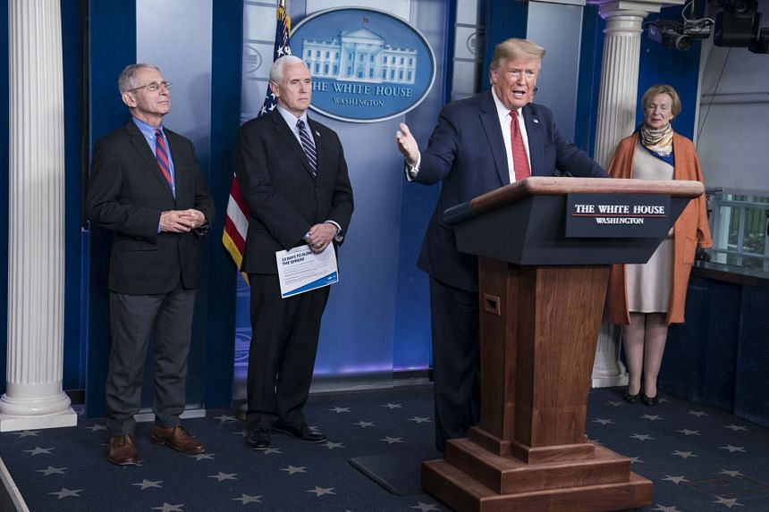 President Donald Trump at the Coronavirus Task Force briefing at the White House on Wednesday. He has promised to sign the US$2 trillion (S$2.9 trillion) relief Bill as soon as it passes the House.