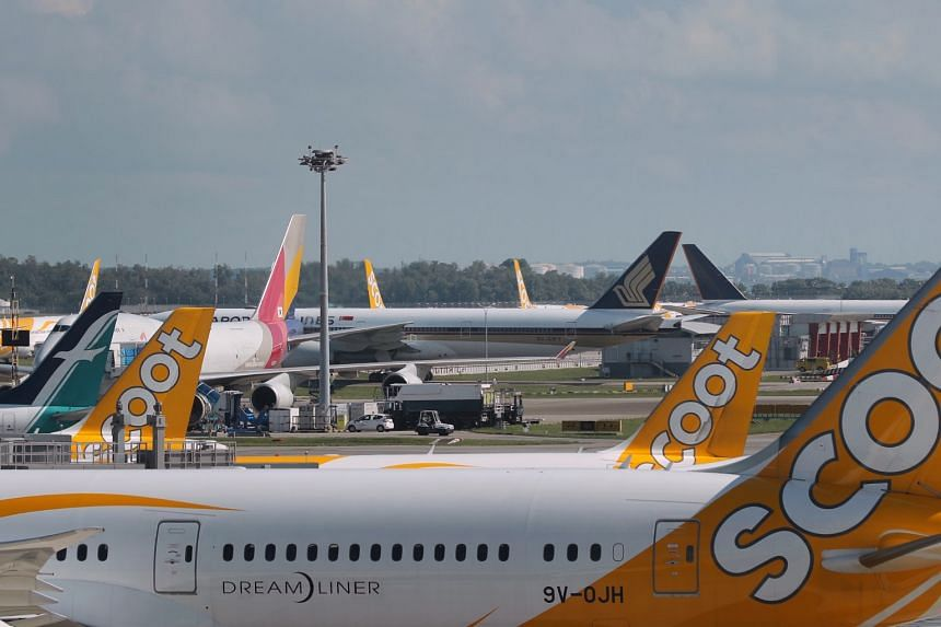Scoot, Singapore Airlines and SilkAir aircraft parked at the gates and on the tarmac at Changi Airport on Tuesday. While some airlines have allowed crew members to do other work outside their companies, others have not.