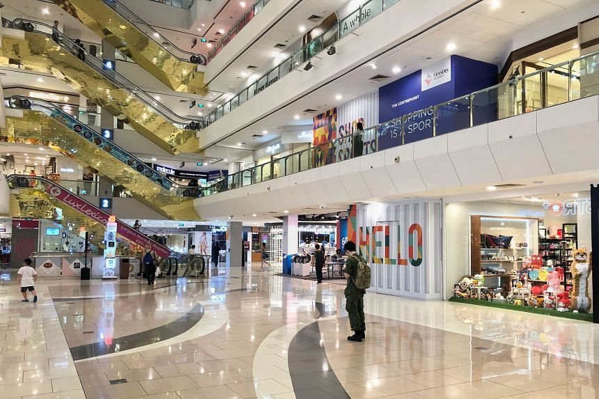 The 100 per cent property tax rebate for retail malls is sufficient to offset half a month's rental rebate for tenants for up to three months, said Ms Tricia Song, head of research for Singapore at Colliers International. ST PHOTO: DESMOND WEE