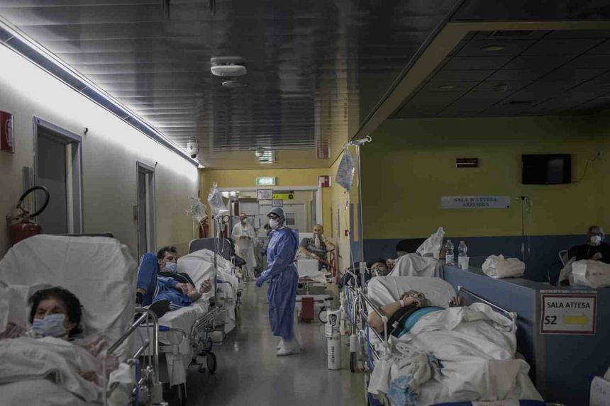 The emergency room of a hospital in Bergamo, Italy, on March 21, 2020.
