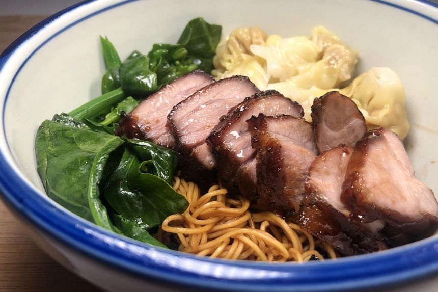 Hong Kong-style wonton noodles with homemade char siew.