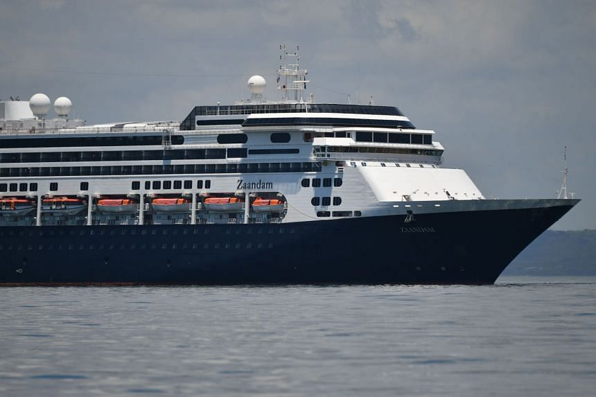 The Zaandam cruise ship enters the Panama City Bay to be assisted by the Rotterdam cruise ship with supplies, personnel and Covid-19 testing devices on March 27, 2020.