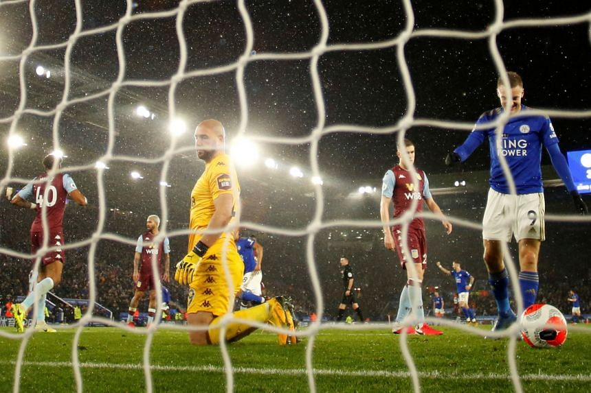 Aston Villa's Pepe Reina is disconsolate after conceding a fourth goal, scored by Leicester's Harvey Barnes, in their 4-0 loss at King Power Stadium on March 9, 2020. This was the last EPL game before the season was suspended.