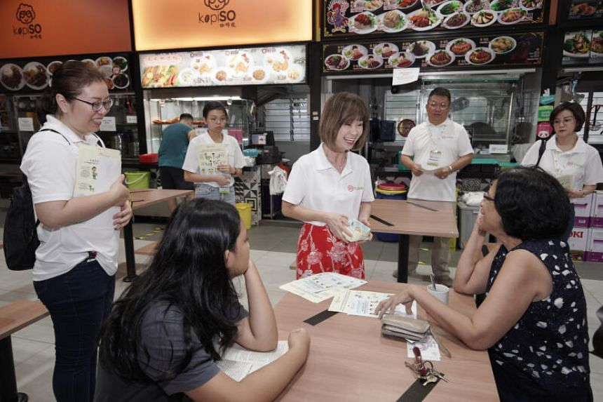 Senior Minister of State for the Environment and Water Resources Amy Khor during the launch of the SG Clean Ambassadors Network at a coffee shop in Bukit Batok West on March 29, 2020.